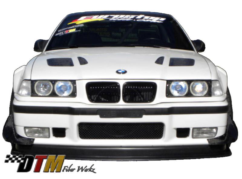 DTM Fiber Werkz BMW E36 Front Bumper Canards CFRP View 2