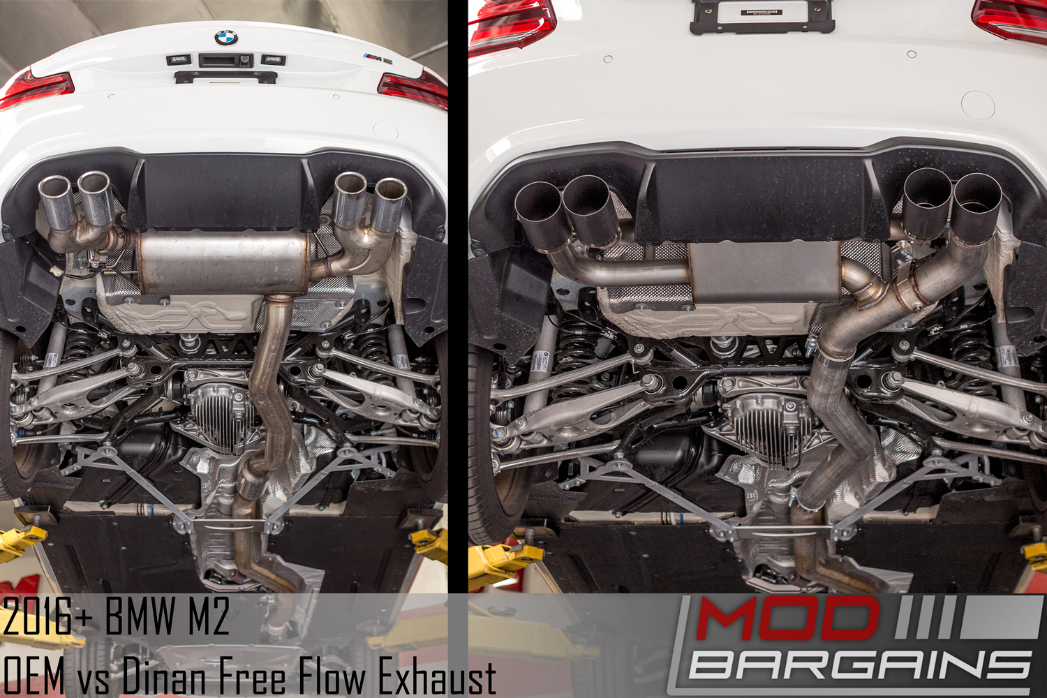 Dinan Free Flow Stainless Exhaust with Black Tips vs OEM