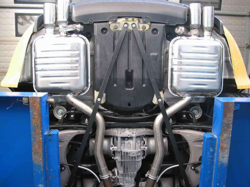 Eisenmann Exhaust for the Audi RS4 B7 Installed Underside