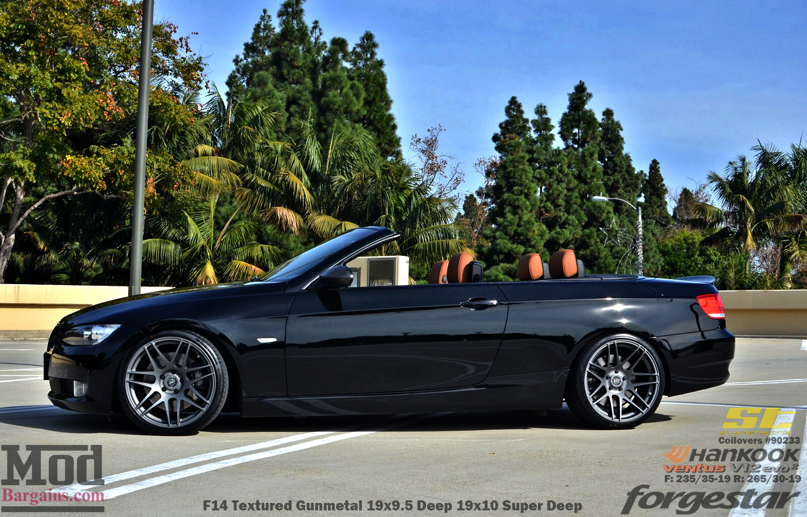 Black BMW E93 Cabrio on ST Coilovers with Forgestar F14 Wheels 19x9.5 19x10 in Textured Gunmetal