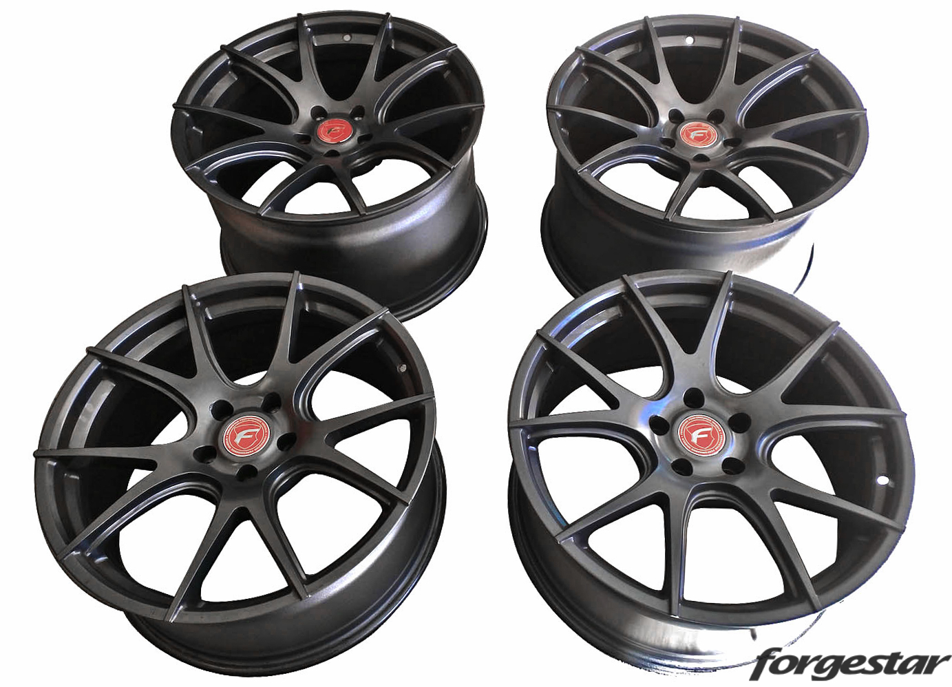 Forgestar CF5V Wheels in Gunmetal w/ Red Center Cap