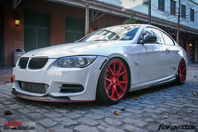 Forgestar CF5V in Blood Red on Alpine White BMW E92