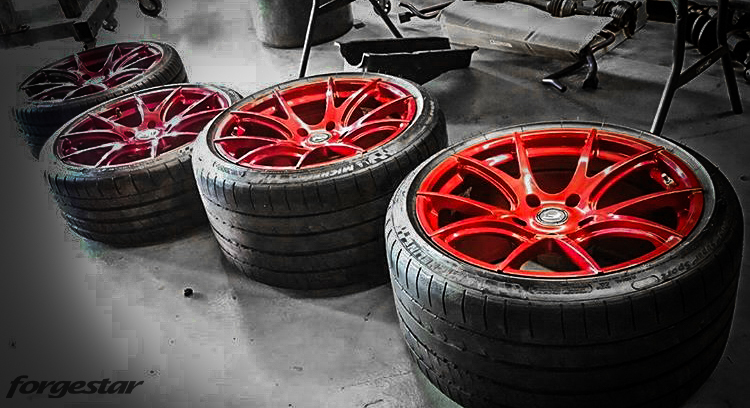 Blood Red Forgestar CF5V w/ Michelin Pilot Super Sport Tires