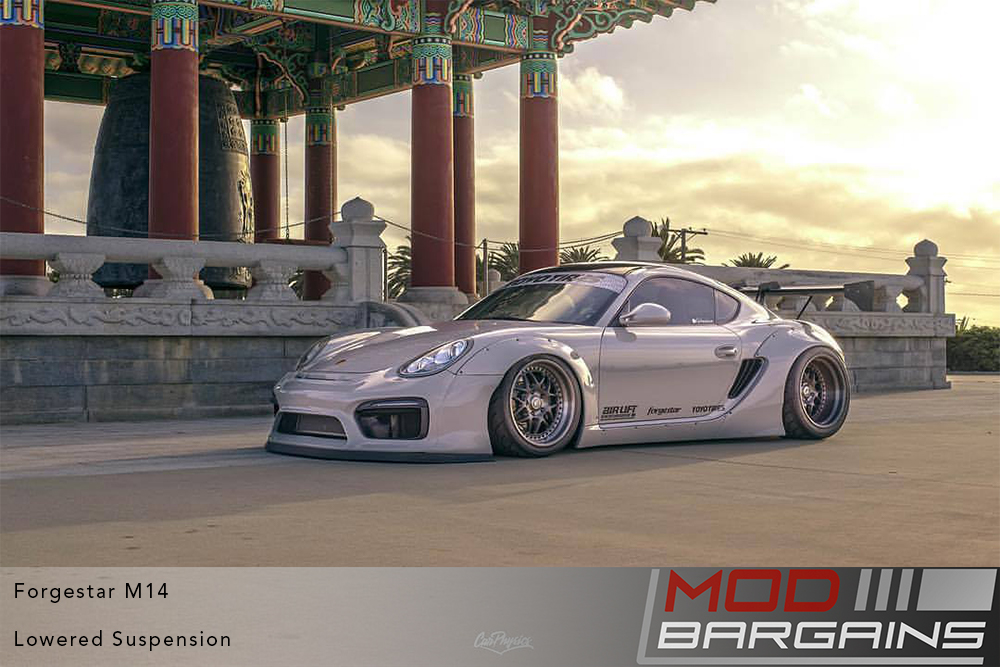 Porsche Cayman 981 Widebody on Forgestar M14 2-piece Modular Wheels Toyo Tires Modbargains