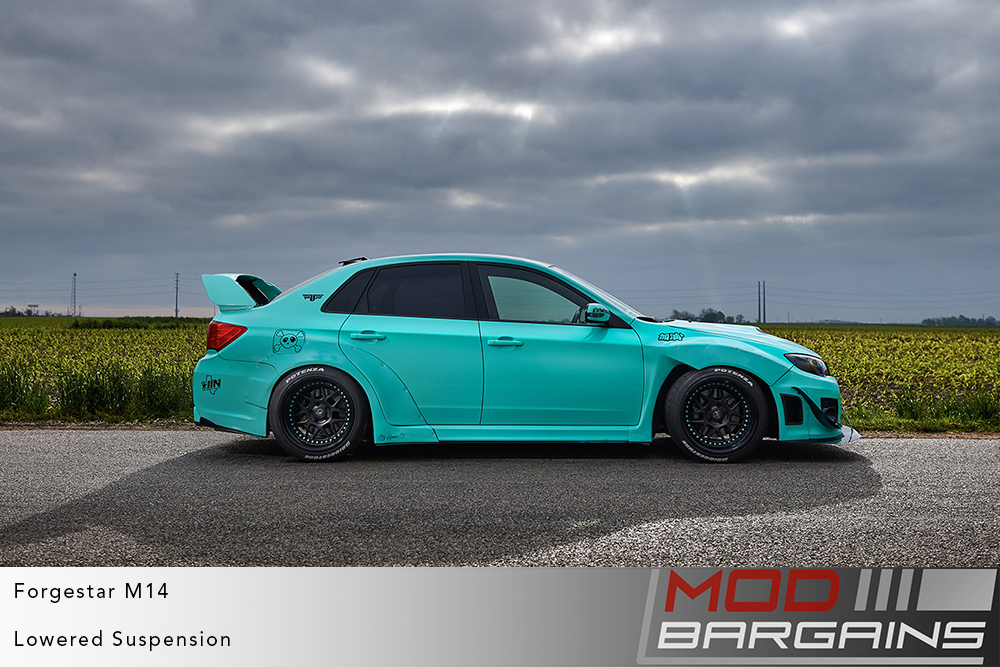 Subaru GE Stinkeye WRX STI Widebody Rocketbunny RB on Forgestar M14 2-piece Modular Wheels Modbargains