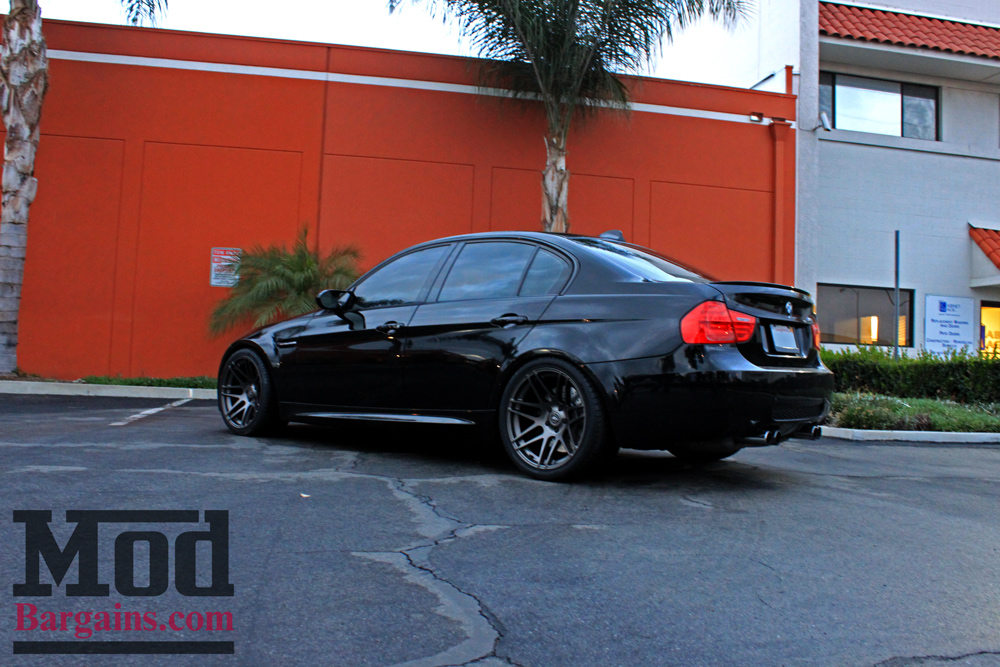 Forgestar F14 Wheels for BMW 19x10 ET20 F/R Semi-Gloss Gunmetal Super Deep Concave IN STOCK on BMW E90 M3 Competition Package with Eibach Pro Kit Springs