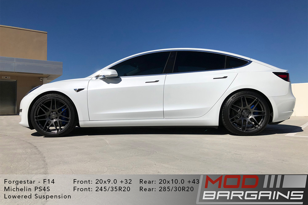 White Tesla Model 3 on Forgestar F14 Wheels 20x9.0 +32 front and 20x10.0 +43 rear