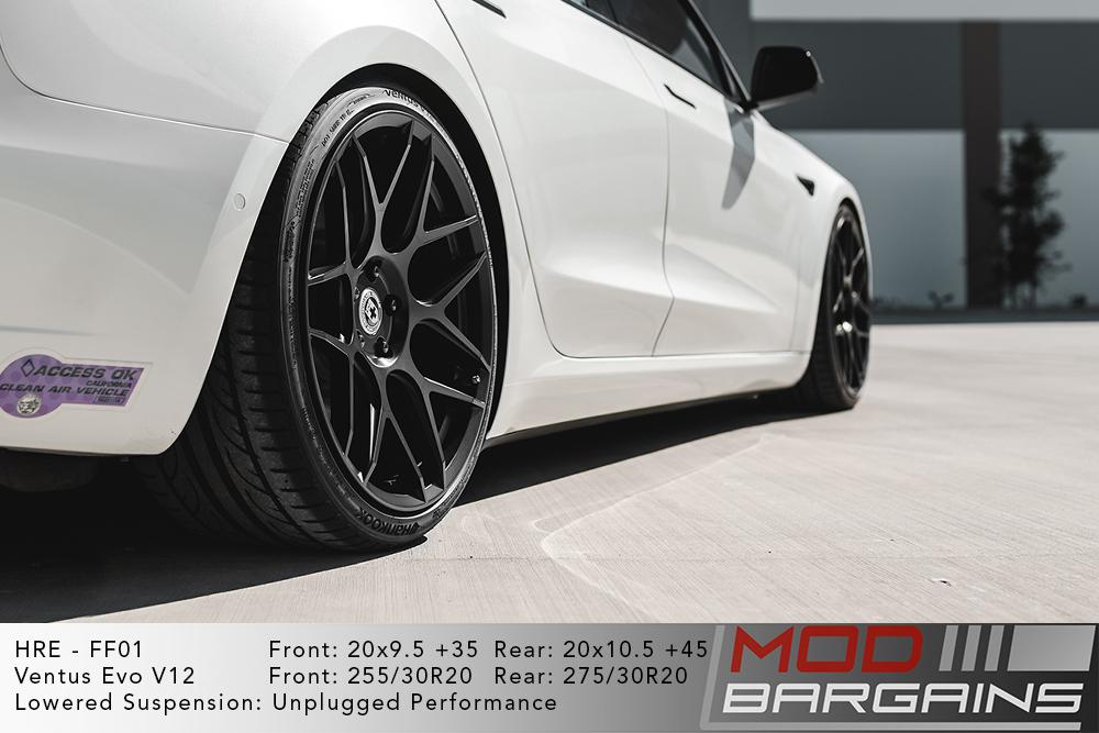 White Tesla Model 3 HRE FF01 20x9.5 20x10.5 Hankook V12 Evo 2 Lowered
