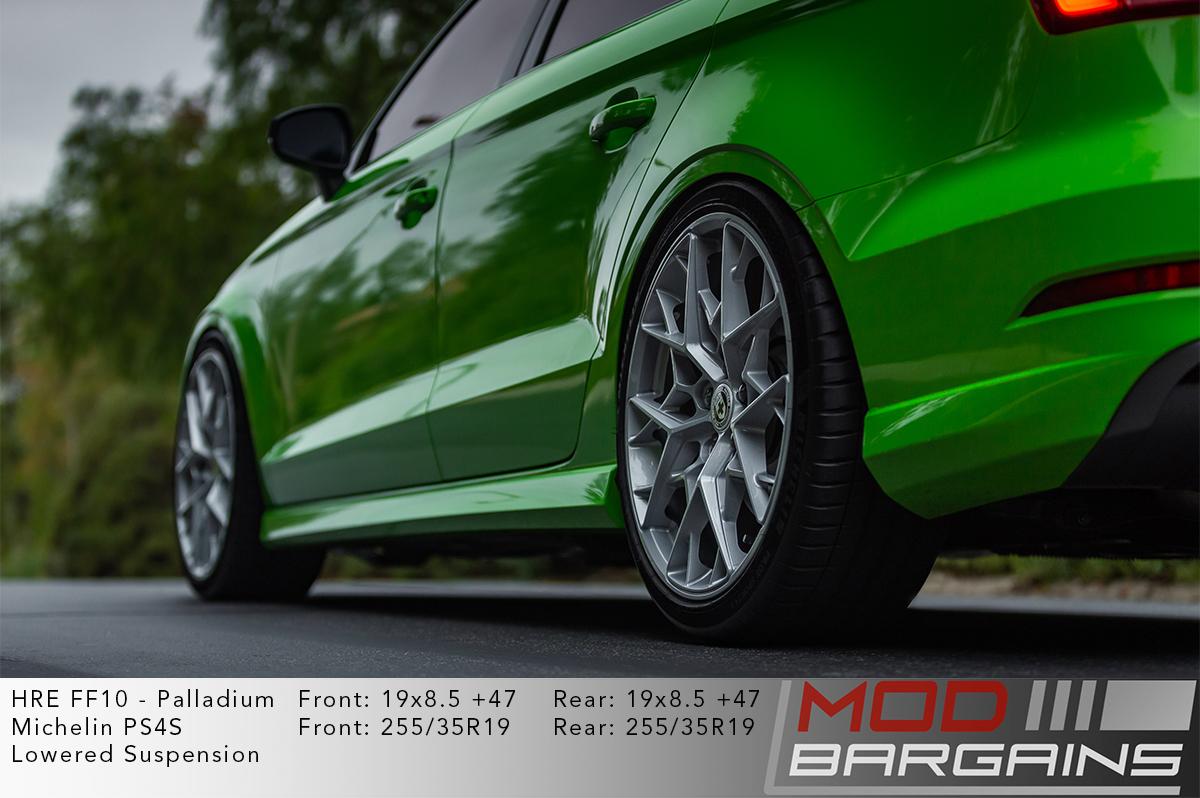 HRE FF10 Wheels on Green Audi S3 8V
