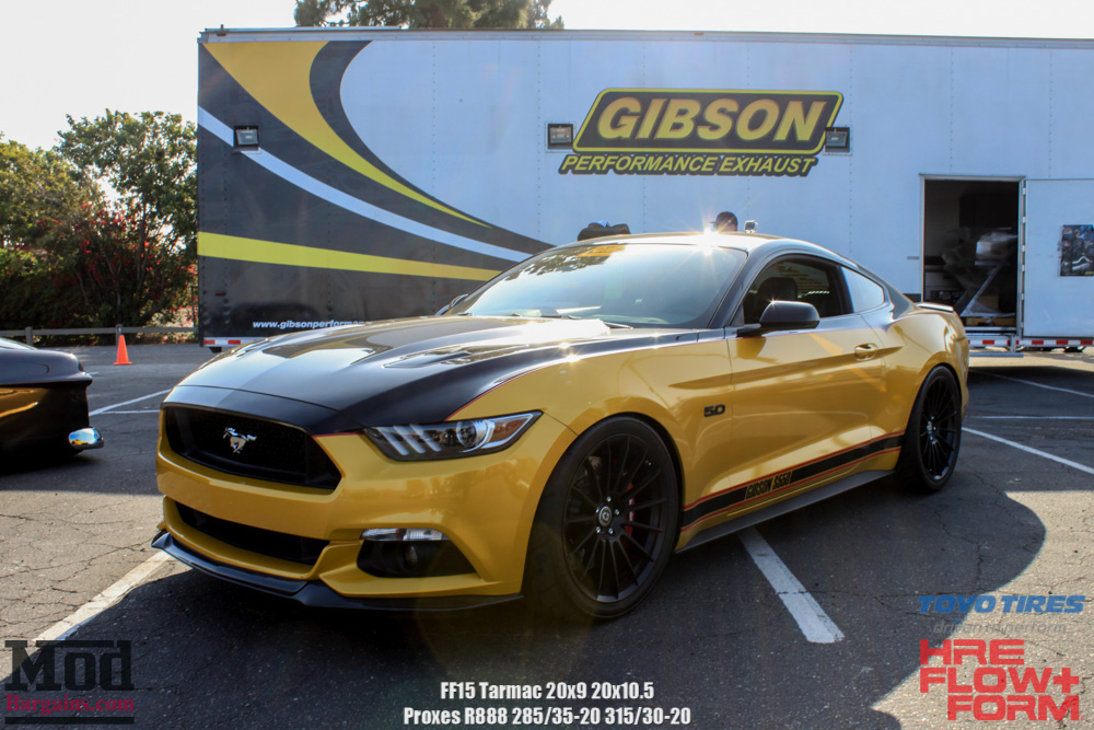 HRE Tarmac Black FF15's on Yellow Mustang 5.0 Front