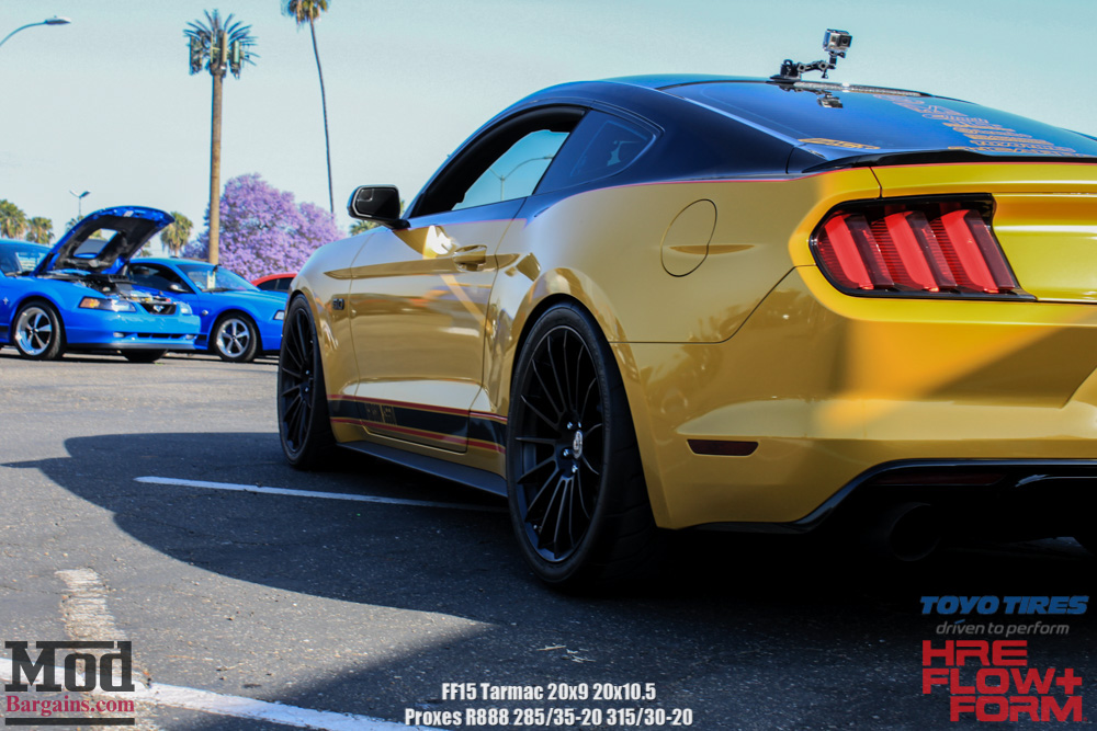 HRE Tarmac Black FF15's on Yellow Mustang 5.0 Rear