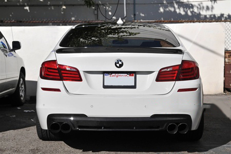 JL Motoring BMW F10 5 Series 3D Style Carbon Fiber Trunk Spoiler Rear View