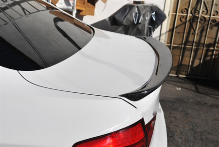JL Motoring BMW F10 5 Series 3D Style Carbon Fiber Trunk Spoiler Side View