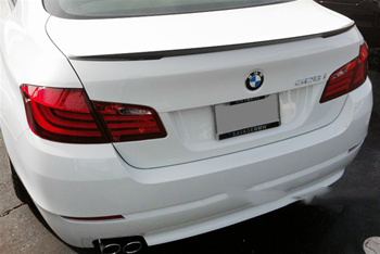 BMW F10 5 Series Performance Style Carbon Fiber Trunk Spoiler Rear View