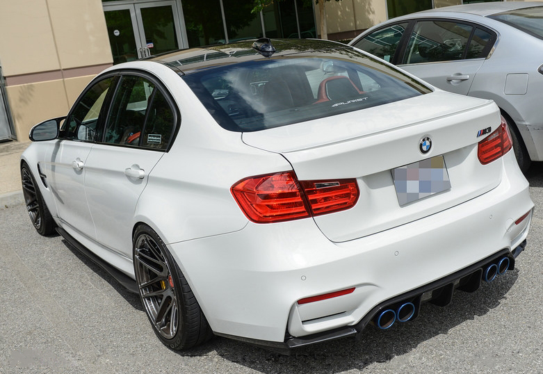 Carbon Fiber V3 Rear Diffuser Installed on BMW M3 F80 (5)
