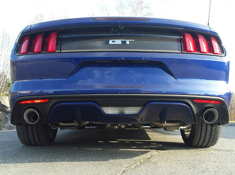 MBRP Axle Back Exhaust T304 Stainless Steel Installed on Mustang GT S550 Rear View