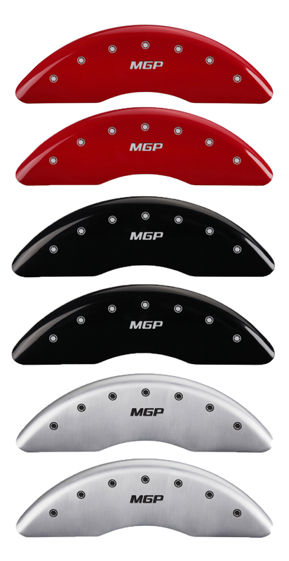 MGP Caliper Covers 14036SMGPMB MGP Engraved Caliper Cover with Matte Black Powder Coat Finish and Silver Characters, Set of 4