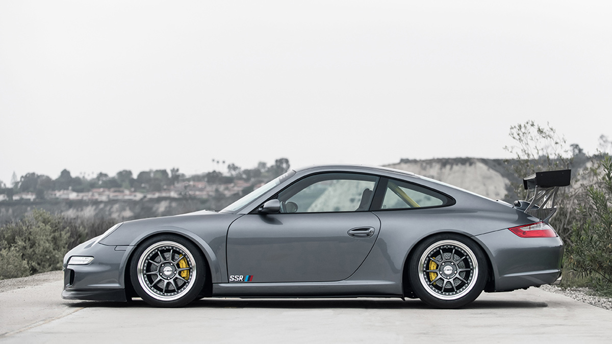 porsche 997 911 turbo gt2 turboS with roll caged lowered on silver sp3 ssr wheels, modbargains
