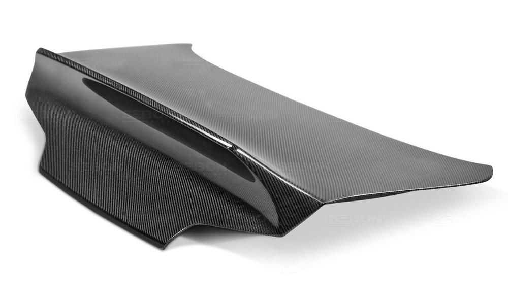 ECOTRIC Rear Trunk Spoiler Lid Wing Lip Carbon Fiber Style Black Plastic Compatible with 2007-2015 Infiniti G35//G25//G37//Q40 4 Door Sedan Model