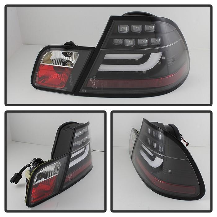 Spyder Black Lightbar Style LED Tail Lights for 2004-2006 E46 BMW 325i/ 328i/ 330i Coupe