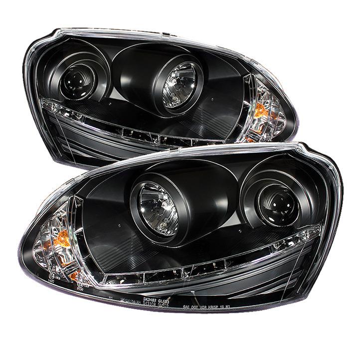 Spyder Projector Black Headlights Halogen Only for Volkswagen Golf/GTI V[non-R32]PRO-YD-VG06-DRL-BK
