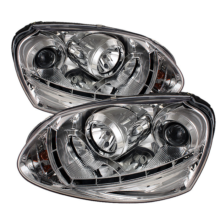 Spyder Projector Chrome Headlights Halogen Only for Volkswagen Golf/GTI V[non-R32]PRO-YD-VG06-DRL-C