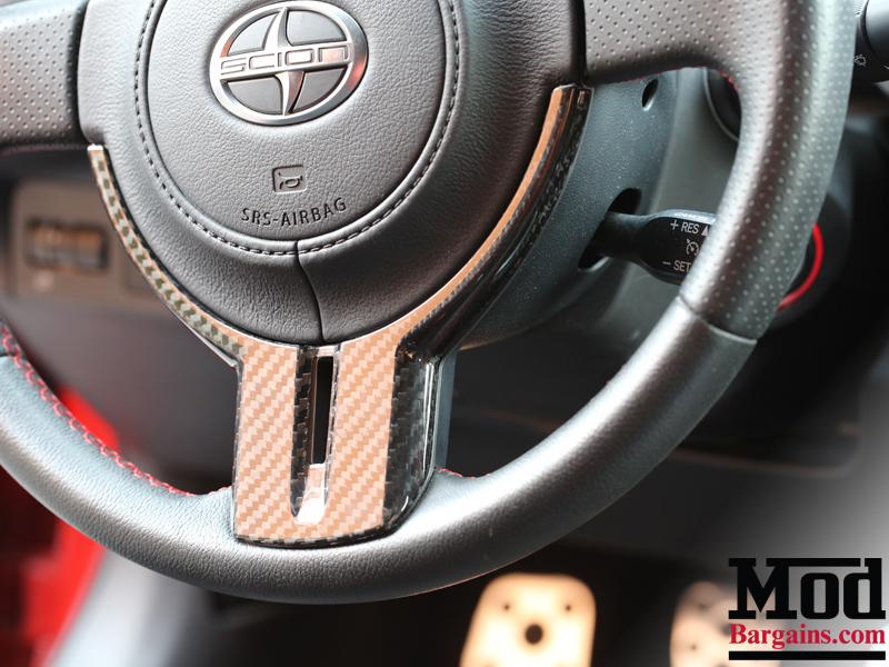 Carbon Fiber Steering Wheel Trim for 2012+ Scion FR-S/Subaru BRZ [ZN6/ZC6] Installed at ModBargains.com 5