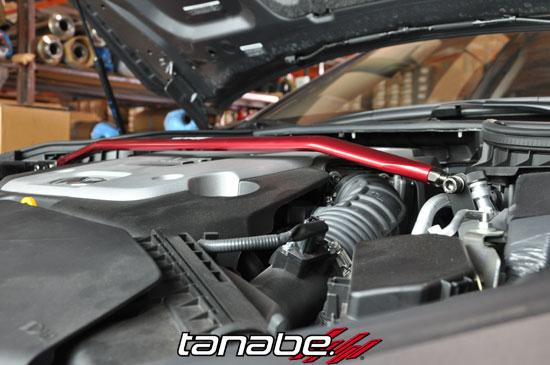 2014 Tanabe Sustec Front Towerbar for Infiniti Q50 RWD Sedan Installed sideshot