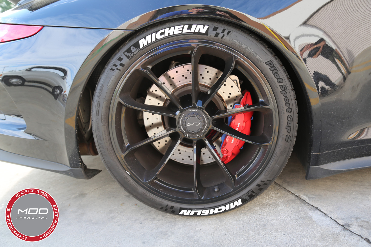 Michelin Tire Stickers installed on Porsche