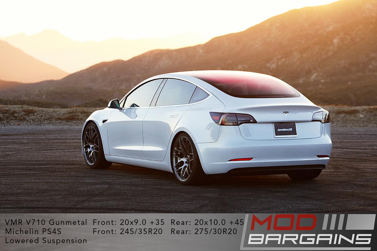Pearl White Multi-Coat Tesla Model 3 on VMR V710 in gunmetal 20x9 front 20x10 rear