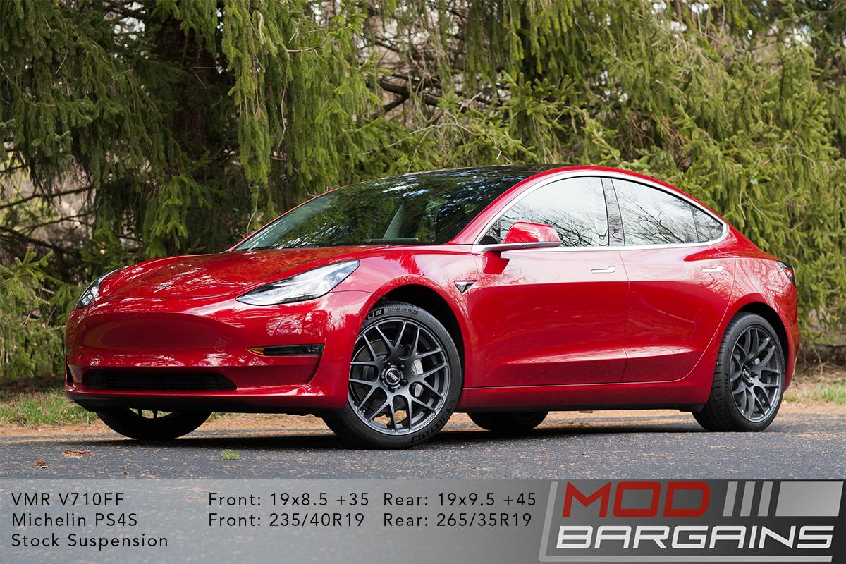 Red Multi-coat Tesla Model 3 on VMR V710FF Mesh Spoke Wheels 19x8.5 front and 19x9.5 rear
