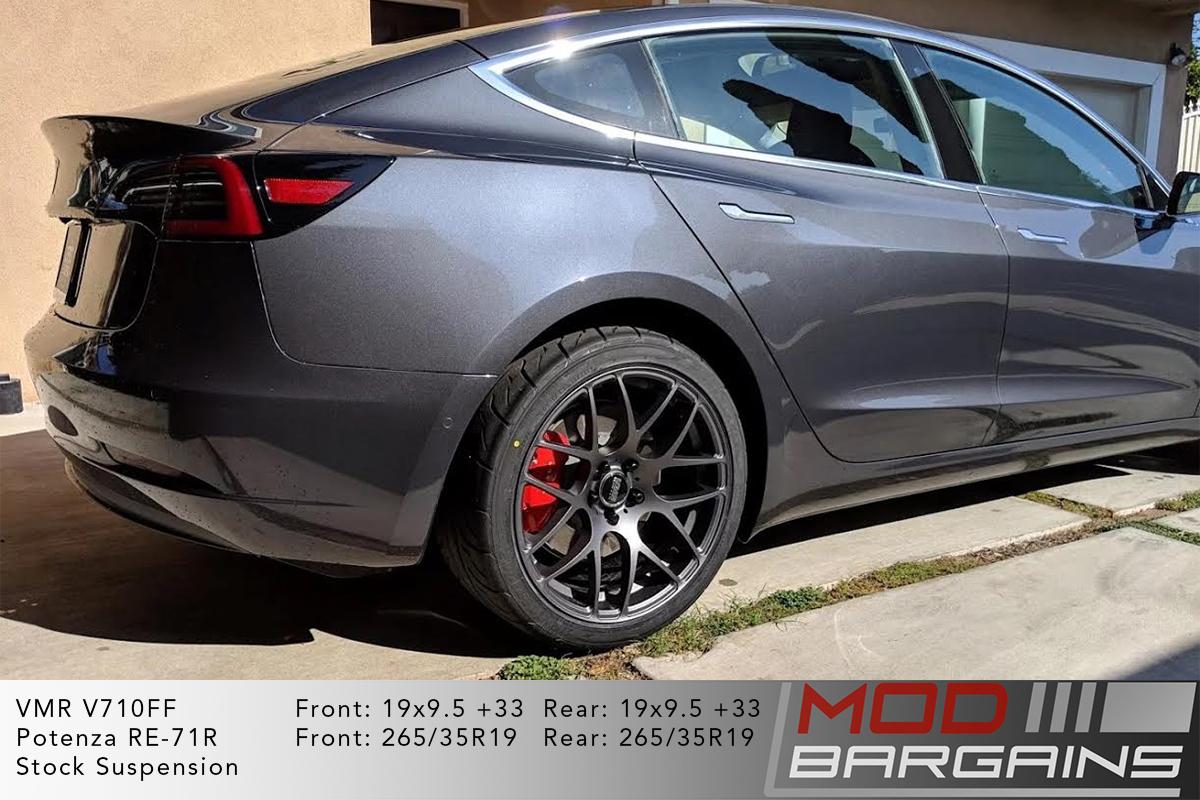 Midnight Silver Metallic Grey Tesla Model 3 on VMR V710FF Mesh Spoke Wheels 19x9.5 front and rear