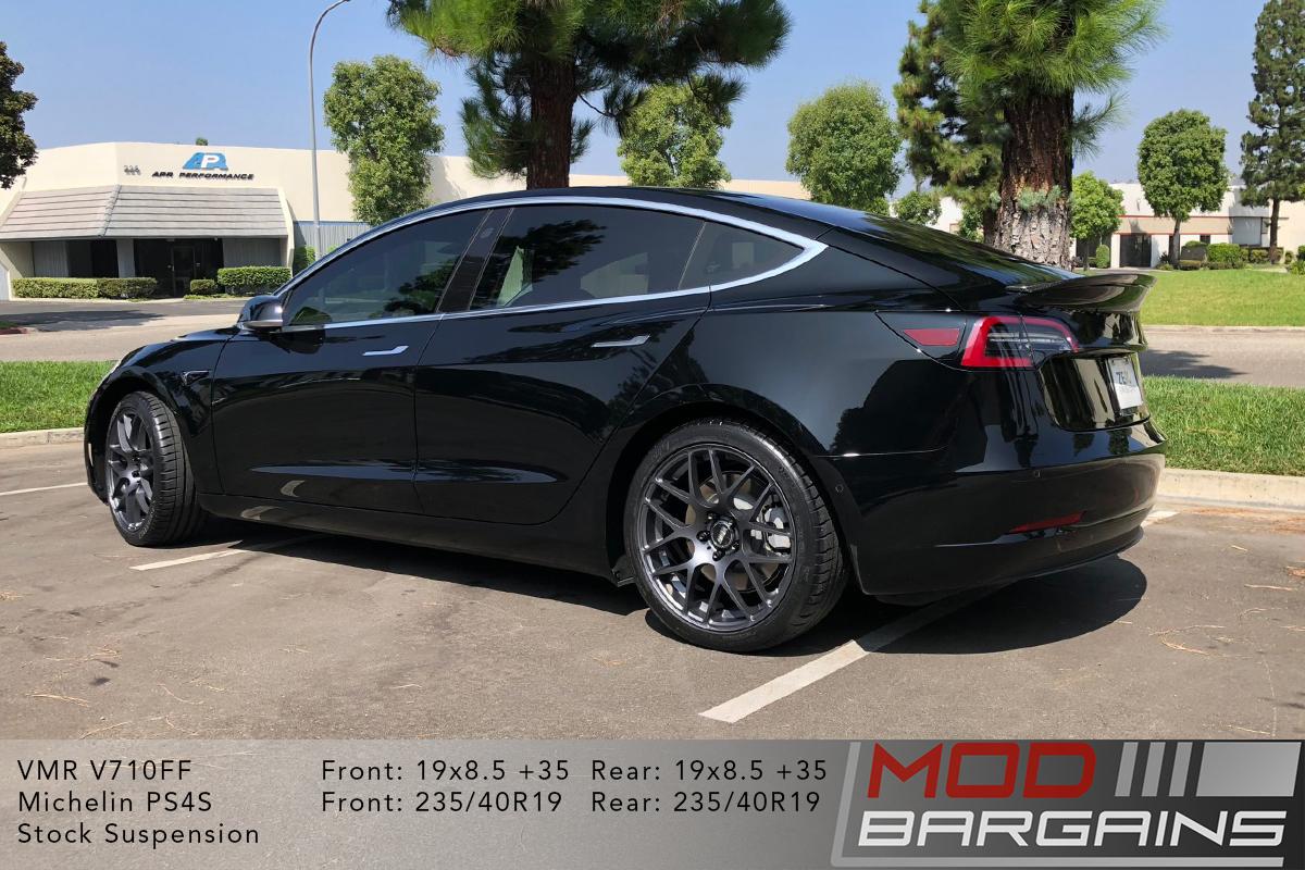 Solid Black Tesla Model 3 on VMR V710FF Mesh Spoke Wheels 19x8.5 front and rear