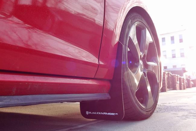 Rally Armor MudFlaps Black w/ White Logo on MKVII Golf GTI