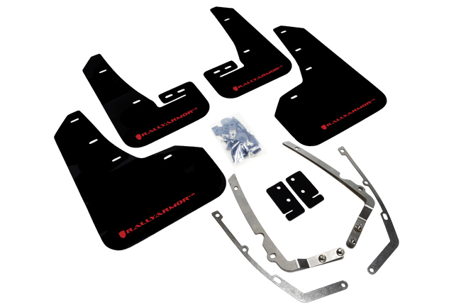 rally armor black mudflaps with red logo