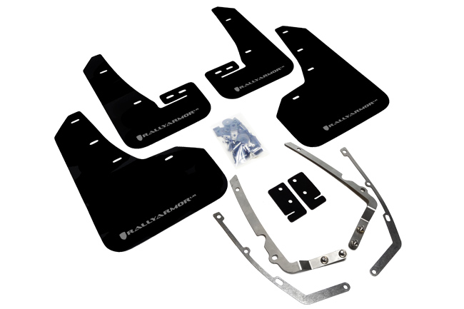 rally armor black mudflaps with silver logo