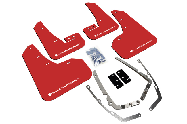rally armor red mudflaps with white logo