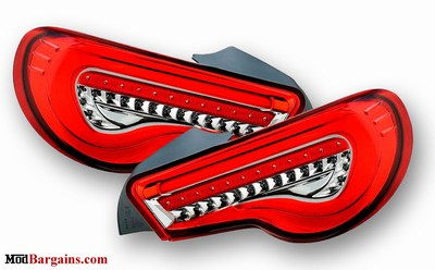 Valenti LED Tail Lights Scion FR-S Subaru BRZ Red and Chrome VALENTI-FT86-TL-RC