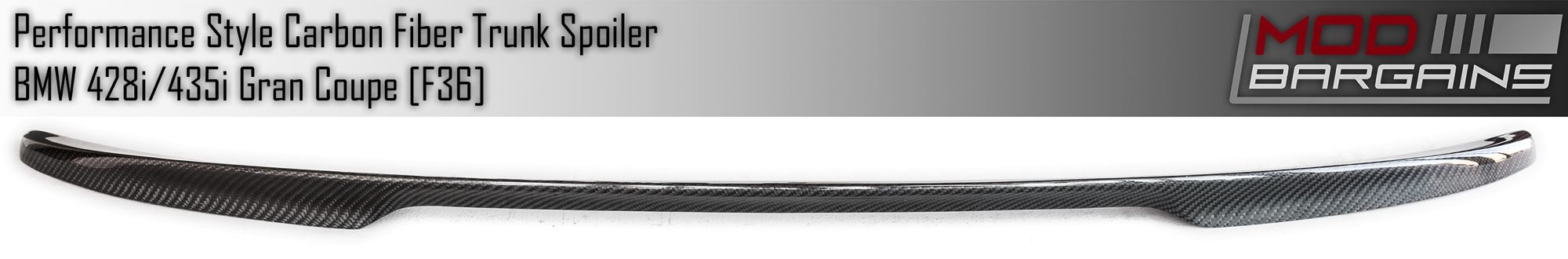 Front View Performance Style Carbon Fiber Trunk Spoiler BMTS3601