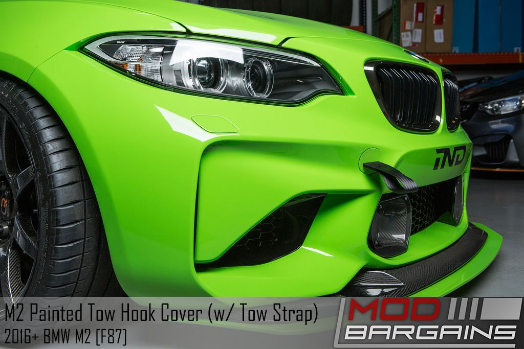 Painted Front Tow Hook Bumper Plugs with optional tow strap IND-F87-FTOW