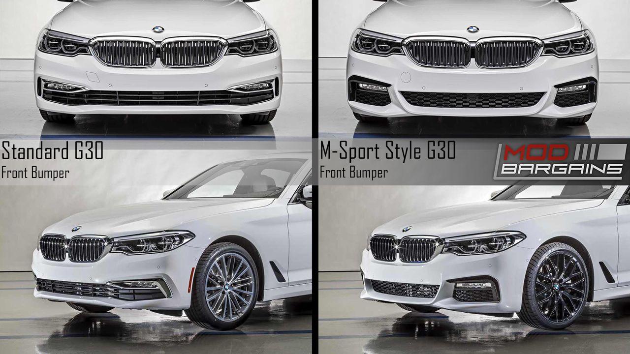 BMW G30 5 series Standard Front Bumper vs MSport Style Front Bumper G30MTFT