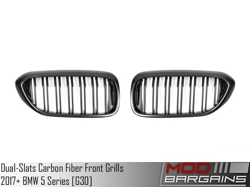 Replacement Dual-Slats Carbon Fiber Front Grilles for 2017+ BMW 5-Series [G30] ATK-BM-0250-DS-CF