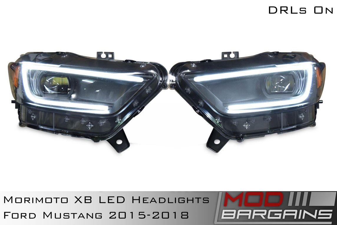 Morimoto XB LED Headlight Assemblies for 2015-2017 Ford Mustang DRLs On