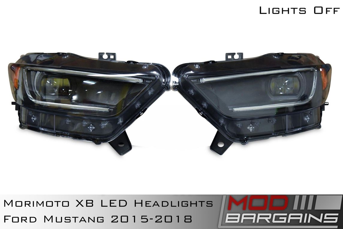 Morimoto XB LED Headlight Assemblies for 2015-2017 Ford Mustang Lights Off