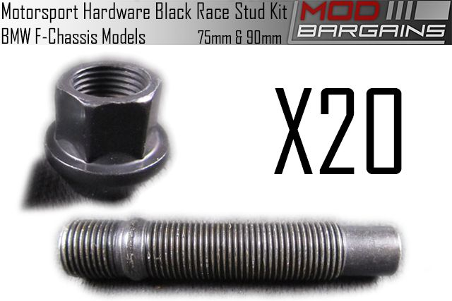 Motorsport Hardware 75mm & 90mm Black Race Stud Kit for BMW F-Chassis Models
