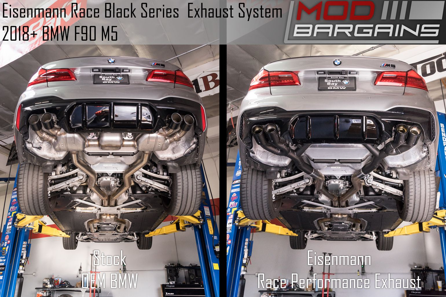 BMW F90 M5 Eisenmann Exhaust Black Series Stock vs Eisenmann