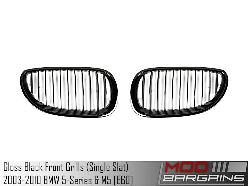 Gloss Black Kidney Grilles for 2003-2010 BMW 5 Series & M5 BM-0066-GB