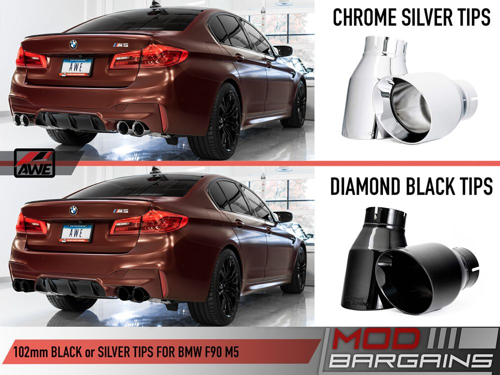 AWE Silver and Black Tip Options for 2018+ BMW M5 [F90]