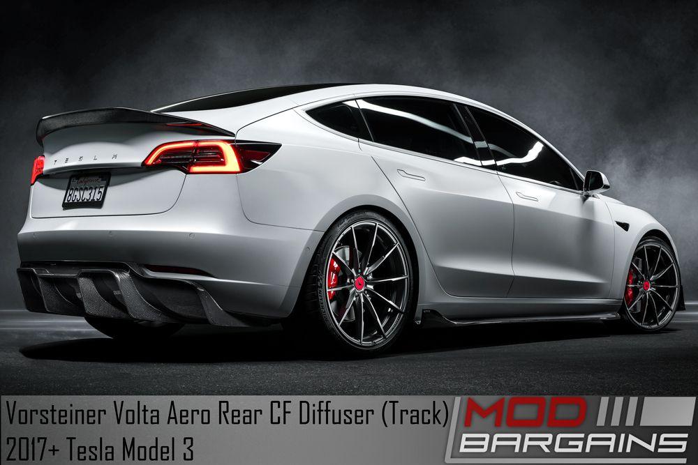Vorsteiner Tesla Model 3 Volta Aero Rear Diffuser (Carbon Fiber 2x2)