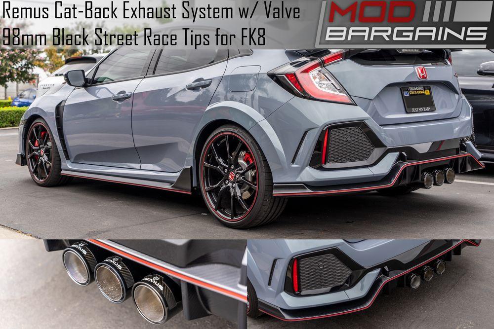 Remus Sport Exhaust for Honda Civic Type R FK8 Installed w/ Black Street Race Tips